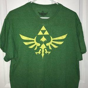 Legend of Zelda Royal Crest Green Shirt Sz Large